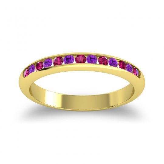 Half Eternity Ceda Ruby Band with Amethyst in 18k Yellow Gold