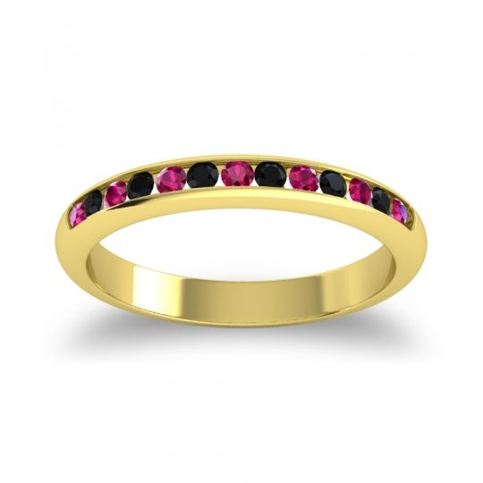 Half Eternity Ceda Ruby Band with Black Onyx in 18k Yellow Gold