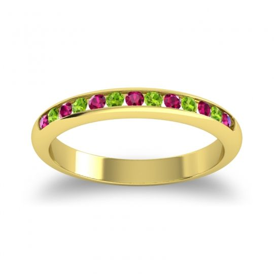 Half Eternity Ceda Ruby Band with Peridot in 14k Yellow Gold