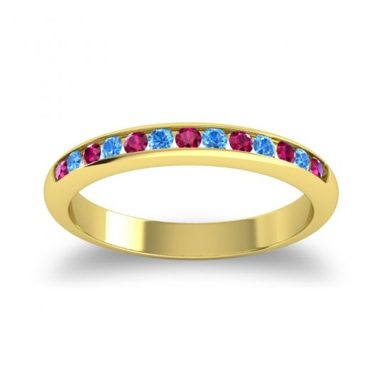Half Eternity Ceda Ruby Band with Swiss Blue Topaz in 18k Yellow Gold