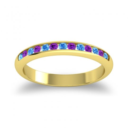 Half Eternity Ceda Swiss Blue Topaz Band with Amethyst in 14k Yellow Gold