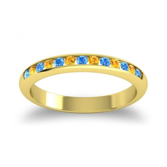 Half Eternity Ceda Swiss Blue Topaz Band with Citrine in 18k Yellow Gold
