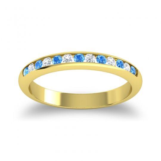 Half Eternity Ceda Swiss Blue Topaz Band with Diamond in 18k Yellow Gold