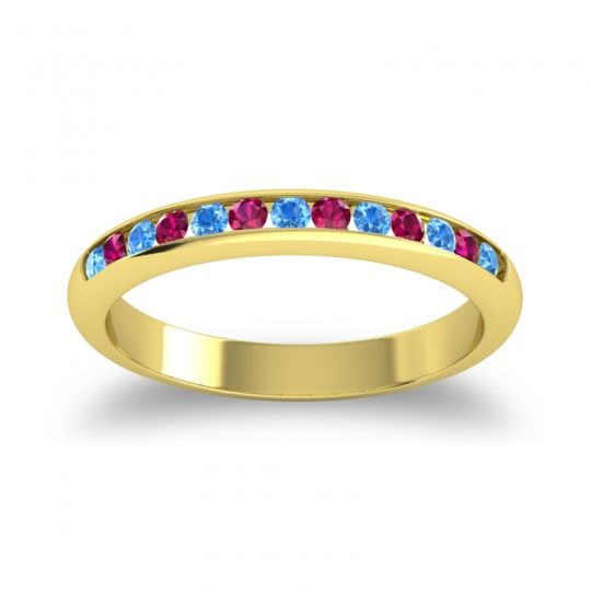 Half Eternity Ceda Swiss Blue Topaz Band with Ruby in 18k Yellow Gold