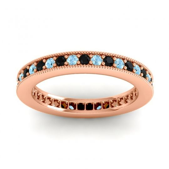 Black Onyx Eternity Zani Band with Aquamarine in 18K Rose Gold