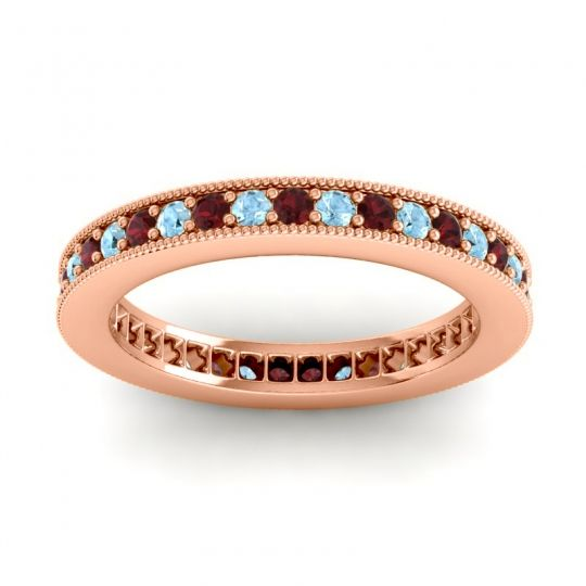 Garnet Eternity Zani Band with Aquamarine in 18K Rose Gold
