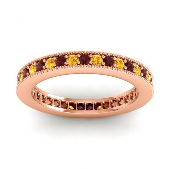 Garnet Eternity Zani Band with Citrine in 18K Rose Gold