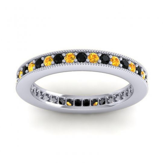 Black Onyx Eternity Zani Band with Citrine in 14k White Gold
