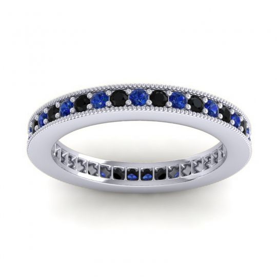 Blue Sapphire Eternity Zani Band with Black Onyx in 14k White Gold