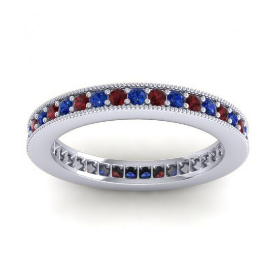 Blue Sapphire Eternity Zani Band with Garnet in Palladium