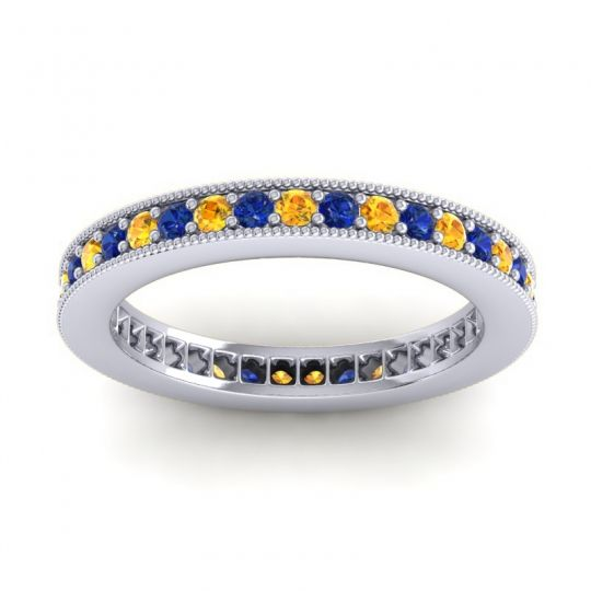 Eternity Zani Citrine Band with Blue Sapphire in Platinum