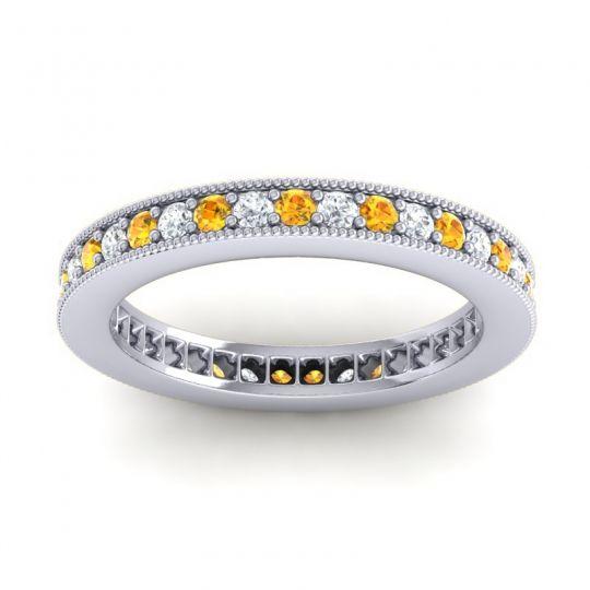 Eternity Zani Citrine Band with Diamond in 14k White Gold