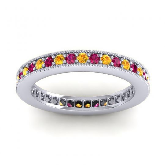 Citrine Eternity Zani Band with Ruby in Platinum