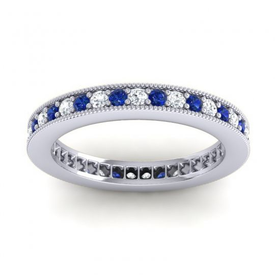 Diamond Eternity Zani Band with Blue Sapphire in Platinum