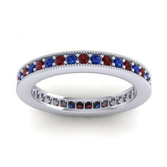 Garnet Eternity Zani Band with Blue Sapphire in Platinum