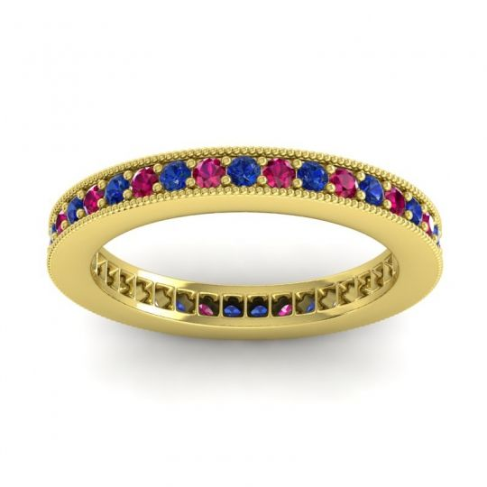 Blue Sapphire Eternity Zani Band with Ruby in 14k Yellow Gold