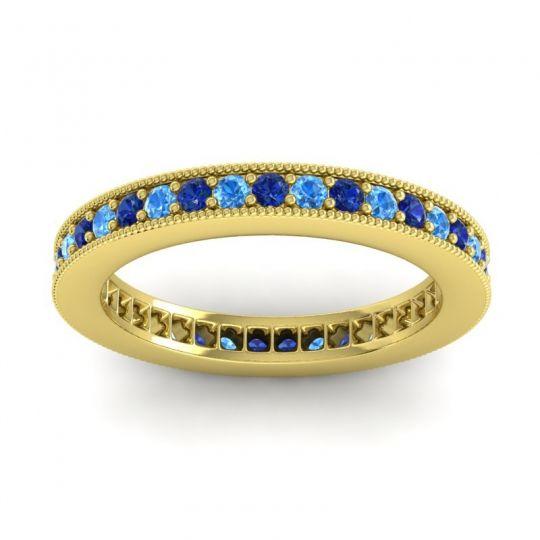 Blue Sapphire Eternity Zani Band with Swiss Blue Topaz in 18k Yellow Gold