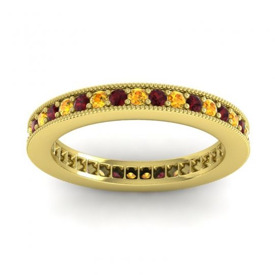 Citrine Eternity Zani Band with Garnet in 14k Yellow Gold