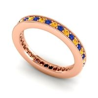 Blue Sapphire Eternity Zani Band with Citrine in 18K Rose Gold