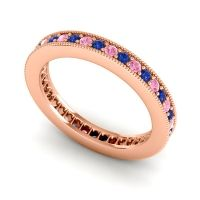 Blue Sapphire Eternity Zani Band with Pink Tourmaline in 14K Rose Gold