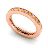Citrine Eternity Zani Band with Pink Tourmaline in 14K Rose Gold