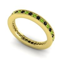Black Onyx Eternity Zani Band with Peridot in 14k Yellow Gold