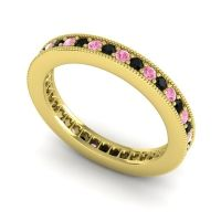 Black Onyx Eternity Zani Band with Pink Tourmaline in 14k Yellow Gold