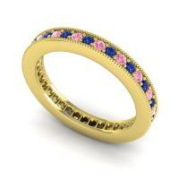 Blue Sapphire Eternity Zani Band with Pink Tourmaline in 18k Yellow Gold