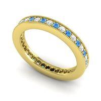 Diamond Eternity Zani Band with Swiss Blue Topaz in 14k Yellow Gold