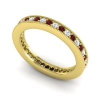 Garnet Eternity Zani Band with Diamond in 14k Yellow Gold