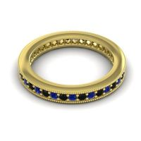 Blue Sapphire Eternity Zani Band with Black Onyx in 14k Yellow Gold