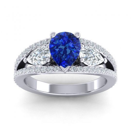 Blue Sapphire Modern Pave Pear Vatama Ring with Diamond in 14k White Gold