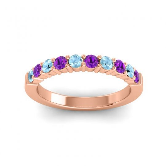 Amethyst Classic Ardha Band with Aquamarine in 14K Rose Gold