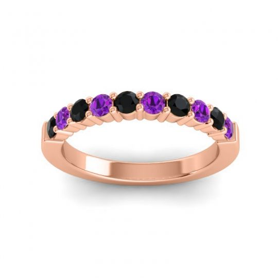 Amethyst Classic Ardha Band with Black Onyx in 14K Rose Gold