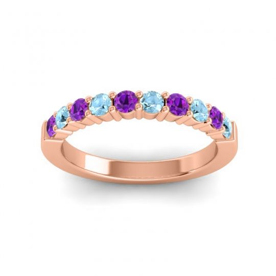 Aquamarine Classic Ardha Band with Amethyst in 14K Rose Gold