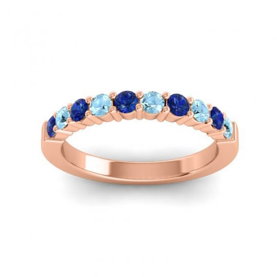 Aquamarine Classic Ardha Band with Blue Sapphire in 14K Rose Gold