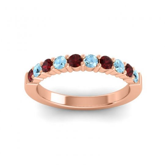 Aquamarine Classic Ardha Band with Garnet in 18K Rose Gold