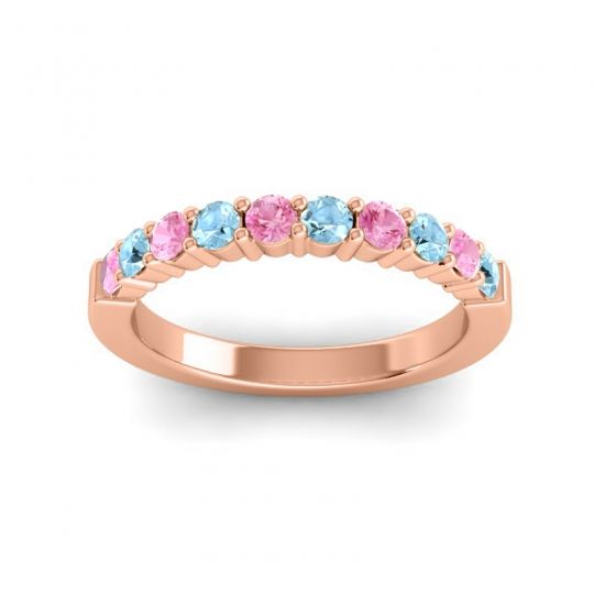 Aquamarine Classic Ardha Band with Pink Tourmaline in 14K Rose Gold