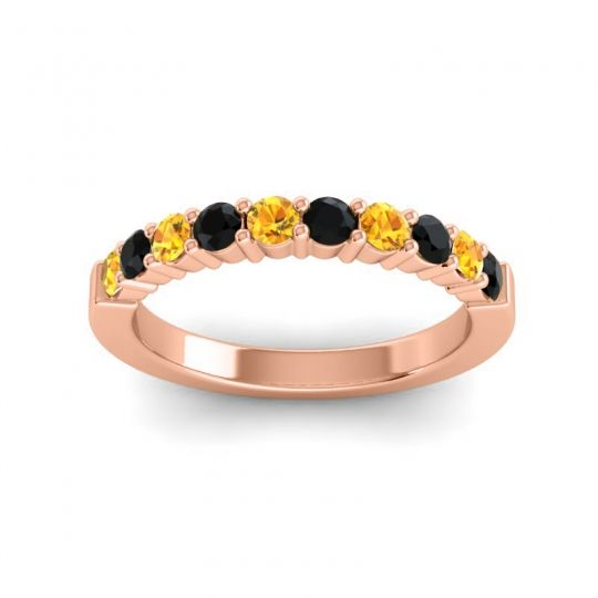 Black Onyx Classic Ardha Band with Citrine in 14K Rose Gold