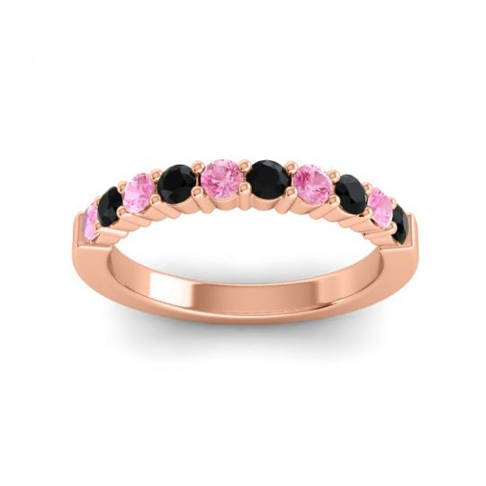 Black Onyx Classic Ardha Band with Pink Tourmaline in 18K Rose Gold