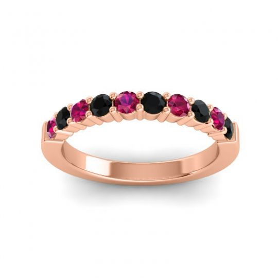 Black Onyx Classic Ardha Band with Ruby in 18K Rose Gold