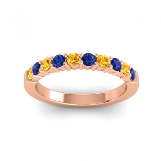 Blue Sapphire Classic Ardha Band with Citrine in 18K Rose Gold