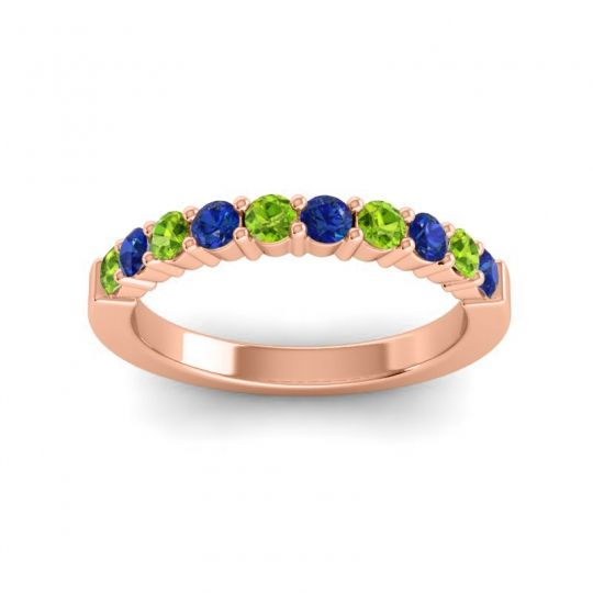 Blue Sapphire Classic Ardha Band with Peridot in 14K Rose Gold