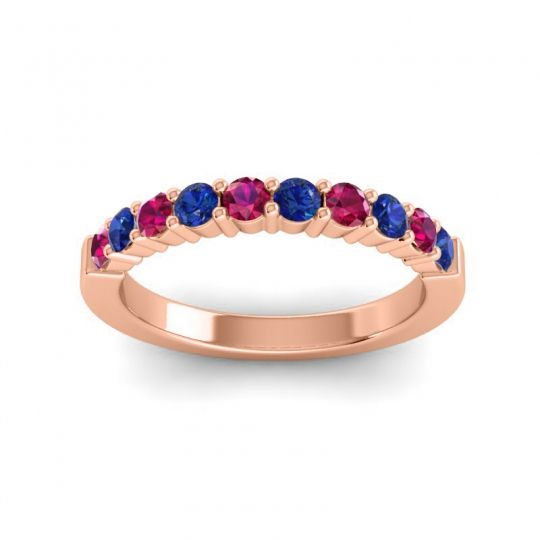 Blue Sapphire Classic Ardha Band with Ruby in 18K Rose Gold