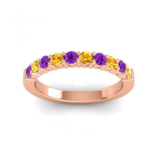 Citrine Classic Ardha Band with Amethyst in 18K Rose Gold