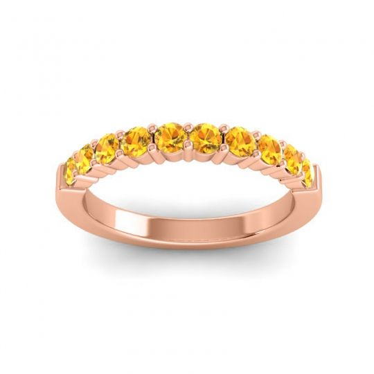 Citrine Classic Ardha Band in 14K Rose Gold