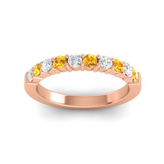Citrine Classic Ardha Band with Diamond in 14K Rose Gold