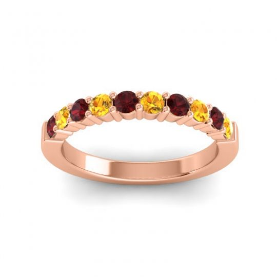 Citrine Classic Ardha Band with Garnet in 14K Rose Gold