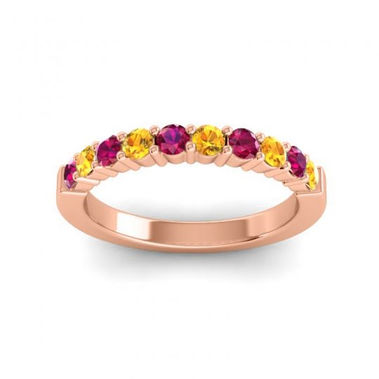 Citrine Classic Ardha Band with Ruby in 14K Rose Gold