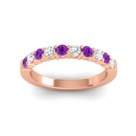 Diamond Classic Ardha Band with Amethyst in 14K Rose Gold
